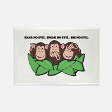 No Evil Monkeys Rectangle Magnet