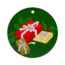 Presents with Holly Ornament (Round)