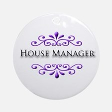 House Manager Name Badge Ornament (Round)