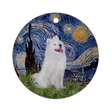 Starry Night Samoyed Ornament (Round)