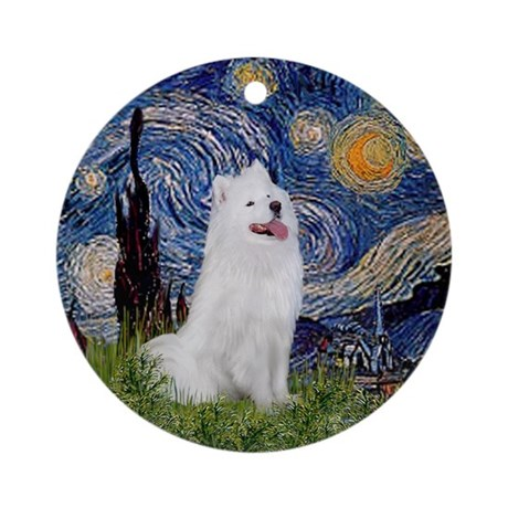 Starry Night Samoyed Ornament (Round)