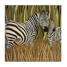 Zebras Grazing in the Grass Tile Coaster