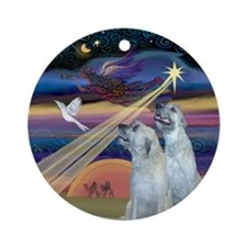 Christmas Star Irish Wolfhound Ornament (Round)