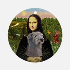 Mona Lisa & Her Irish Wolfhound Ornament (Round)