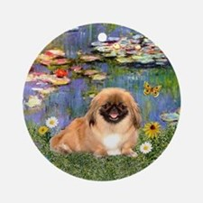 Pekingese in Monet's Lilies Ornament (Round)