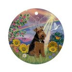 Cloud Angel and Welsh Terrier Ornament (Round)