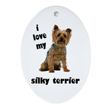 Silky Terrier Love Oval Ornament