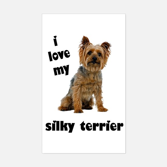 Silky Terrier Love Rectangle Decal