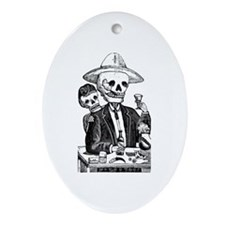 Calavera Tapatia Oval Ornament