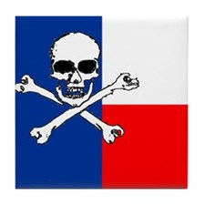 Cute Red white blue skull Tile Coaster