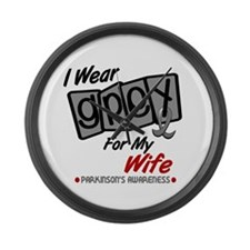 I Wear Grey For My Wife 8 PD Large Wall Clock