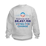 Obama: 69,457,159 Votes for C Kids Sweatshirt