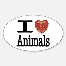 I Heart Animals Oval Decal