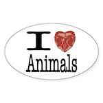 I Heart Animals Oval Sticker