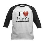 I Heart Animals Kids Baseball Jersey