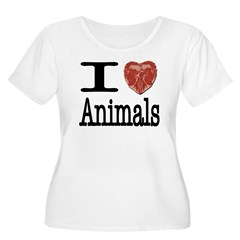I Heart Animals Women's Plus Size Scoop Neck T-Shi