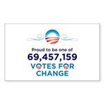 Obama: 69,457,159 Votes for Change Stickers (50)