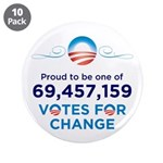 """Obama: 69,457,159 Votes 3.5"""" Button 10 pack"""