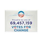 Obama: 69,457,159 Votes for Change Rect. Magnet