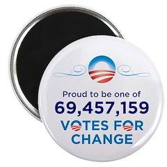 """69,457,159 Votes for Change 2.25"""" Magnet (10"""