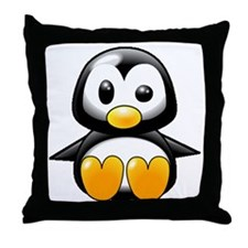 What the Heck Penguin Throw Pillow
