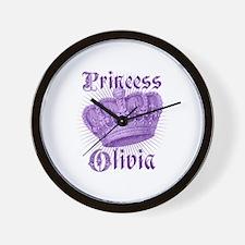 Vintage Princess Olivia Personalized Wall Clock