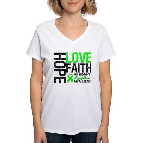 NonHodgkinHopeLoveFaith Women's V-Neck T-Shirt