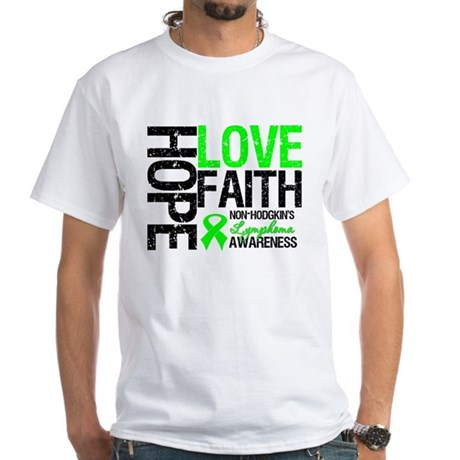 NonHodgkinHopeLoveFaith White T-Shirt