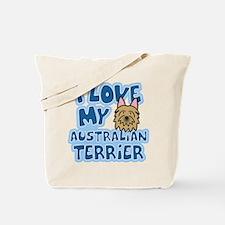 I Love my Australian Terrier Tote Bag (Cartoon)