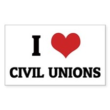 I Love Civil Unions Rectangle Decal