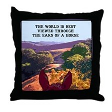 Through the ears of a horse. Throw Pillow