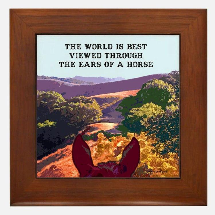 Through the ears of a horse. Framed Tile