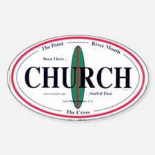 Church Surf Spots Oval Bumper Stickers