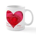 Red Rose in Heart, Right Handed Mug