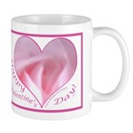 Pink Rose in Heart, Right Handed Mug