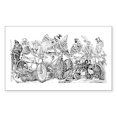Calaveras en Bicicleta Rectangle Sticker