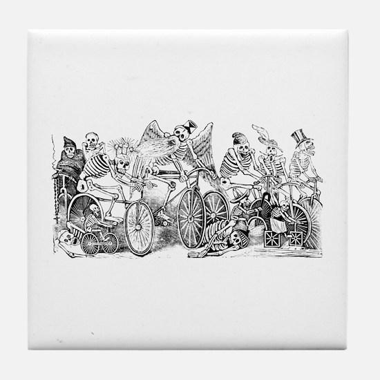 Calaveras en Bicicleta Tile Coaster