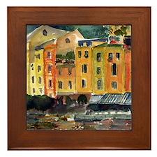 Watercolor Italian Waterfront Framed Tile