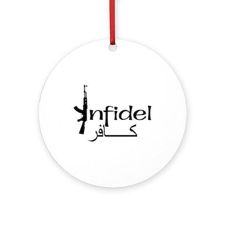 Infidel Ak47 (Arabic Text) Ornament (Round)