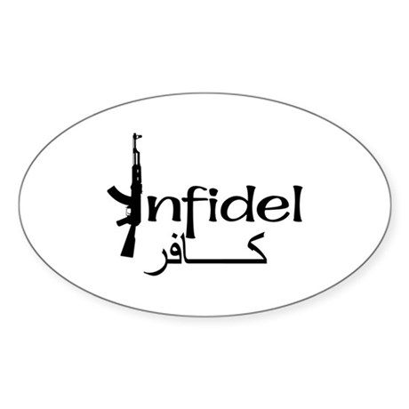 Infidel Ak47 (Arabic Text) Oval Sticker