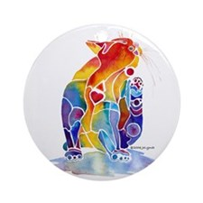 Whimzical Luv Kitty Ornament (Round)