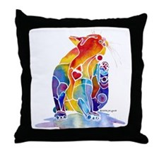 Whimzical Luv Kitty Throw Pillow