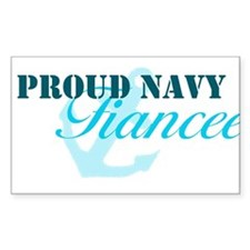 Proud Navy Fiancee Rectangle Decal