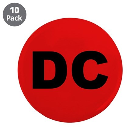 "DC (Red and Black) 3.5"" Button (10 pack)"
