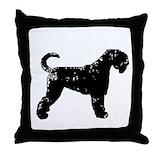 Black russian terrier Throw Pillows