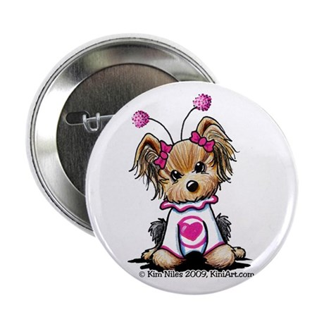 "Love Bug Yorkie 2.25"" Button (100 pack)"