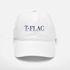 White Baseball Baseball Cap with Faded Blue T-FLAC Logo