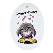 Tweet-heart Bird Oval Ornament