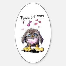 Tweet-heart Bird Oval Sticker (10 pk)