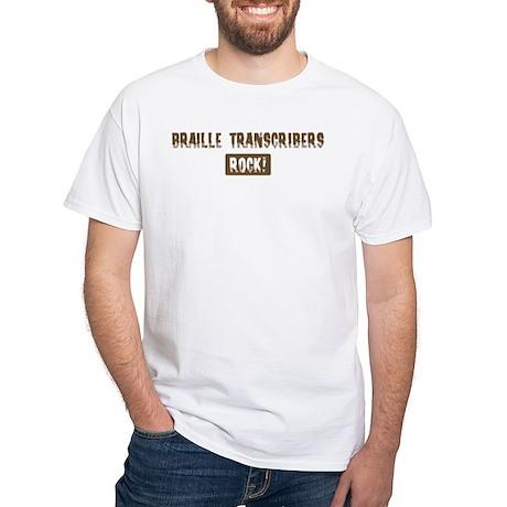 Braille Transcribers Rocks White T-Shirt